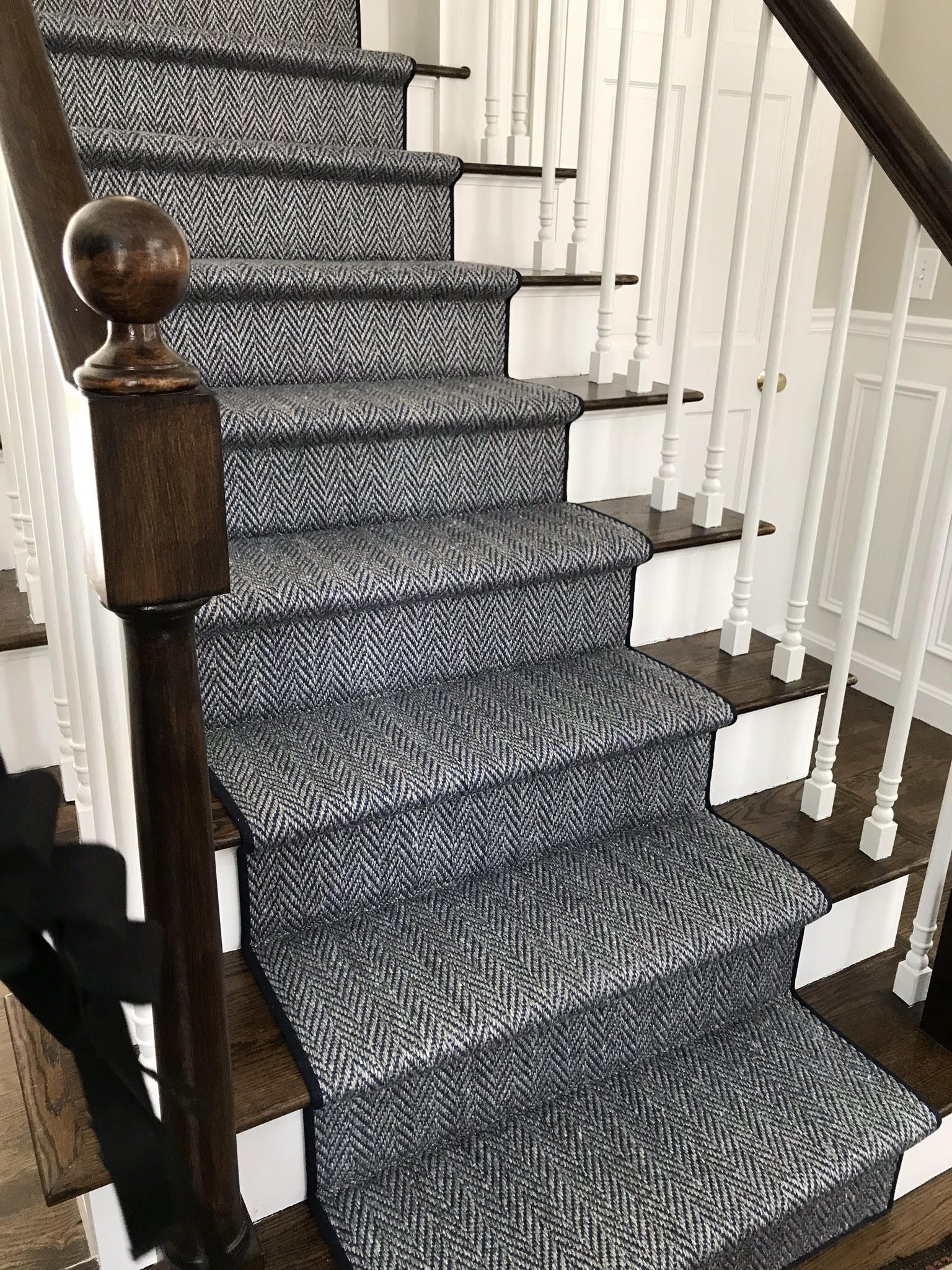 Another Install For A Hollywood Herringbone Stair Runner For A   Carpet Tiles For Stairs Home Depot   Stair Runner   Eurotile   Stainless Steel   Stair Tread   Beige Carpet