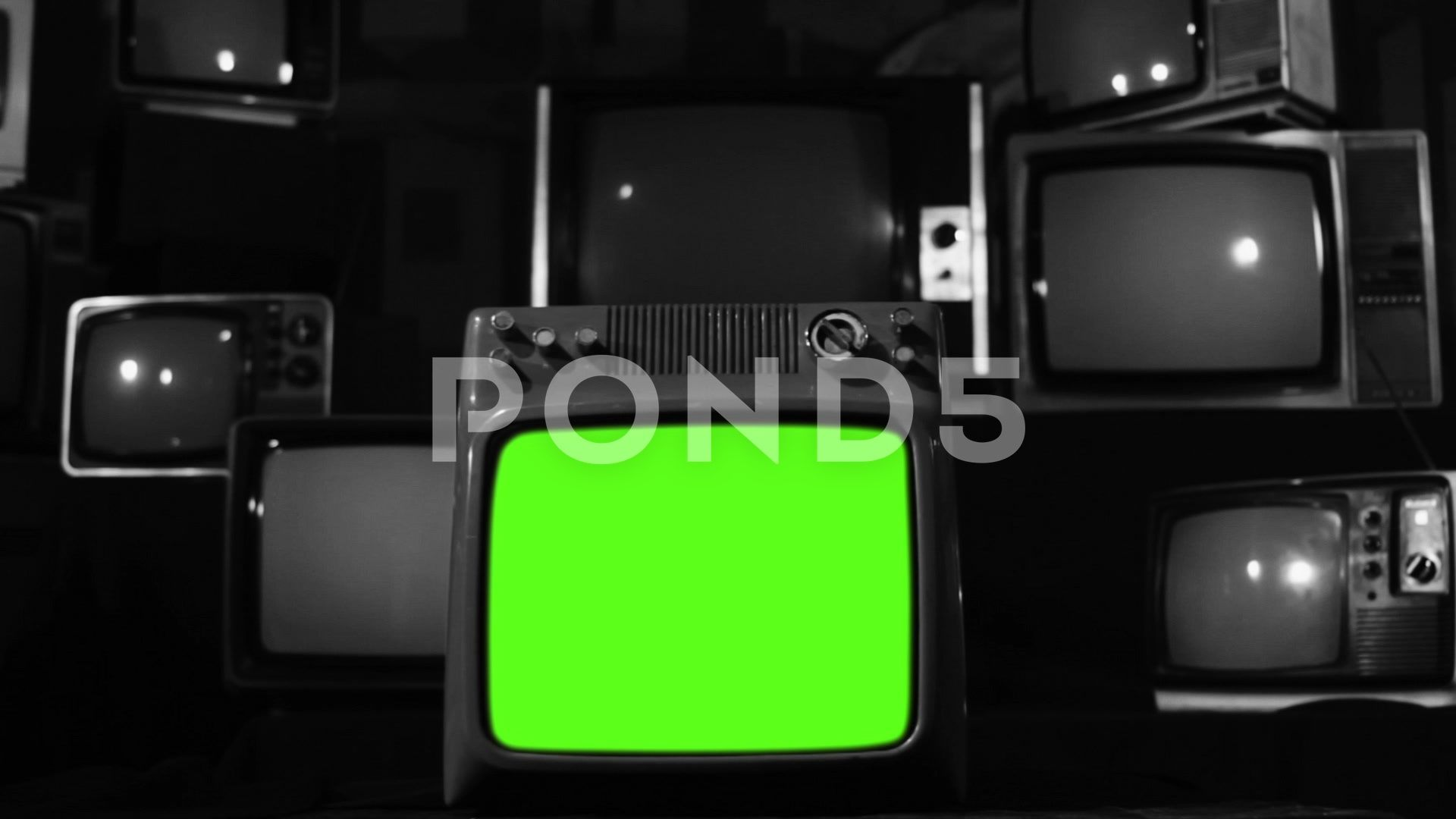 Vintage Tv Turning On Green Screen Black And White Tone Zoom In