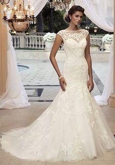 Unique Bateau Fit N Flare Lace Natural Waist Short Sleeve Wedding ...