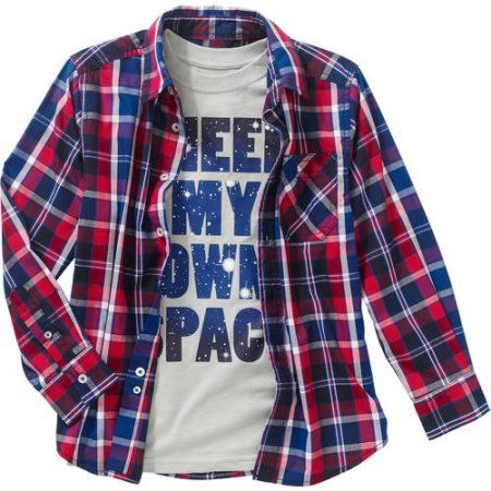 7482e640 Faded Glory Boys' 2 Piece Long Sleeve Woven Shirt with Graphic Tee, Size:  10/12, Blue