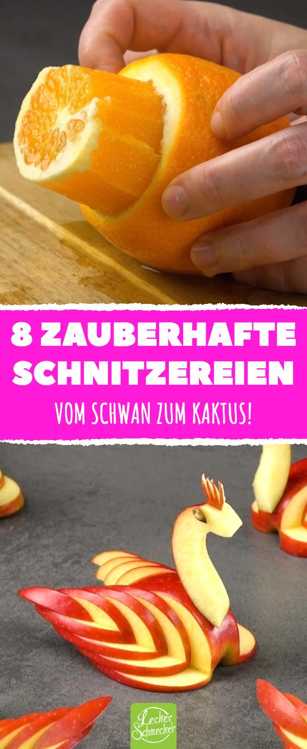8 zauberhafte Schnitzereien. Vom Schwan zum Kaktus! #rezepte #lecker #obst #gemüse #schnitzen #foodcarving #obstgemüse