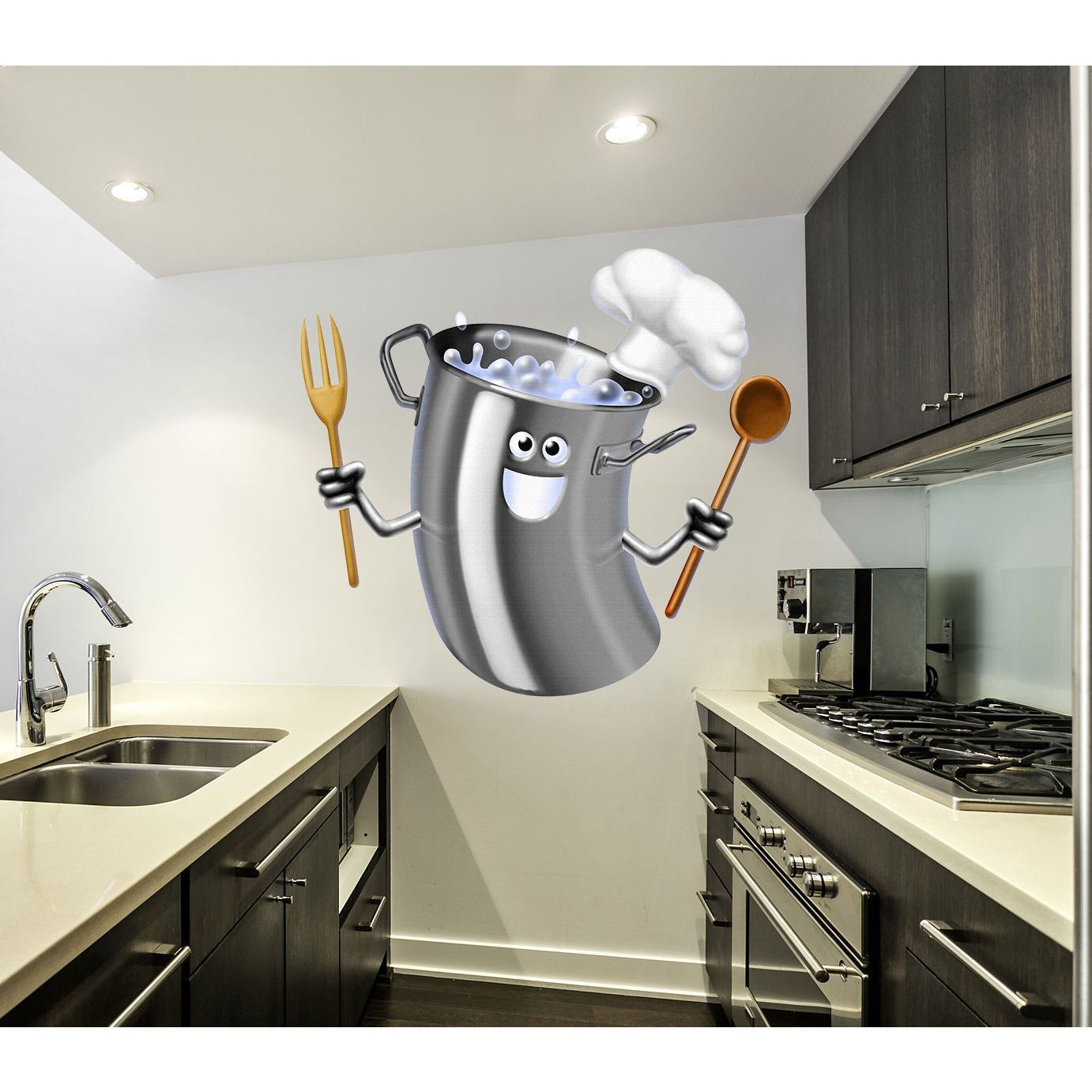 Full color decal funny pan sticker colored funny pan wall art decal