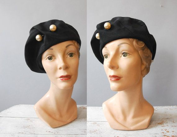 1940s Hat / Grand Pearl Beret / 50s by wildfellhallvintage on Etsy, $36.00