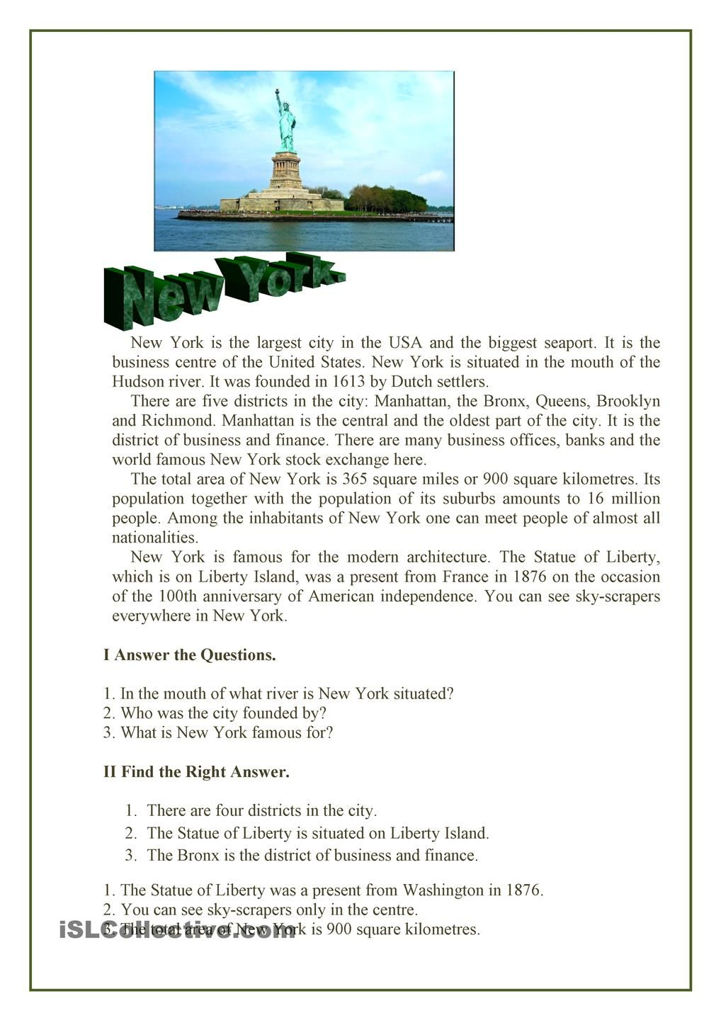 New York English Reading English Exercises Learn English Reading texts for pre intermediate