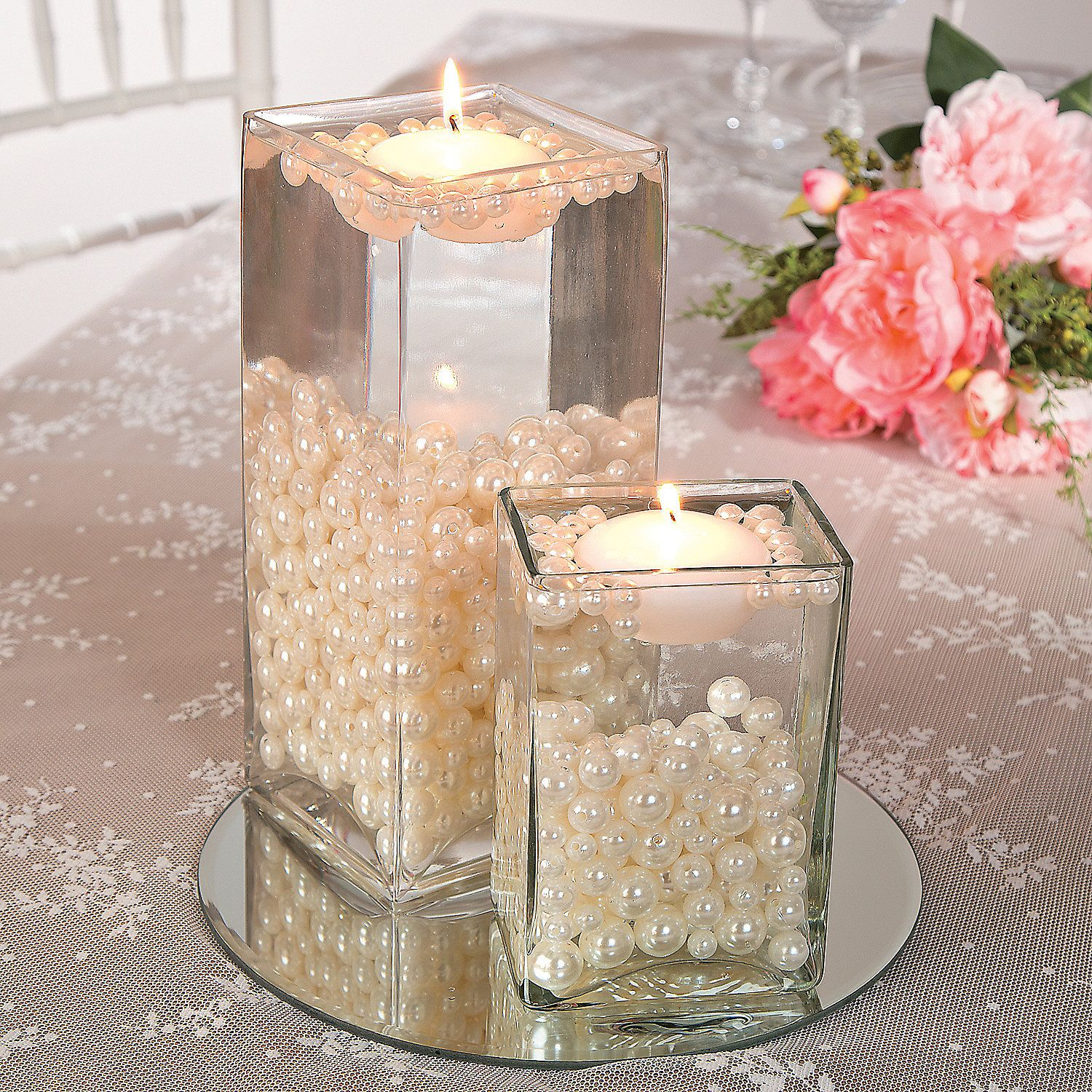 Easy Floating Candle Centerpieces: Easy Pearl Bead Centerpiece Idea