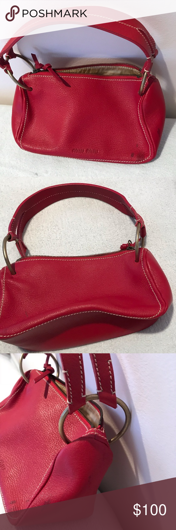💯authentic vintage Miu Miu bag red Vintage Miu Miu bag with a few stains as 484c4f3d9e