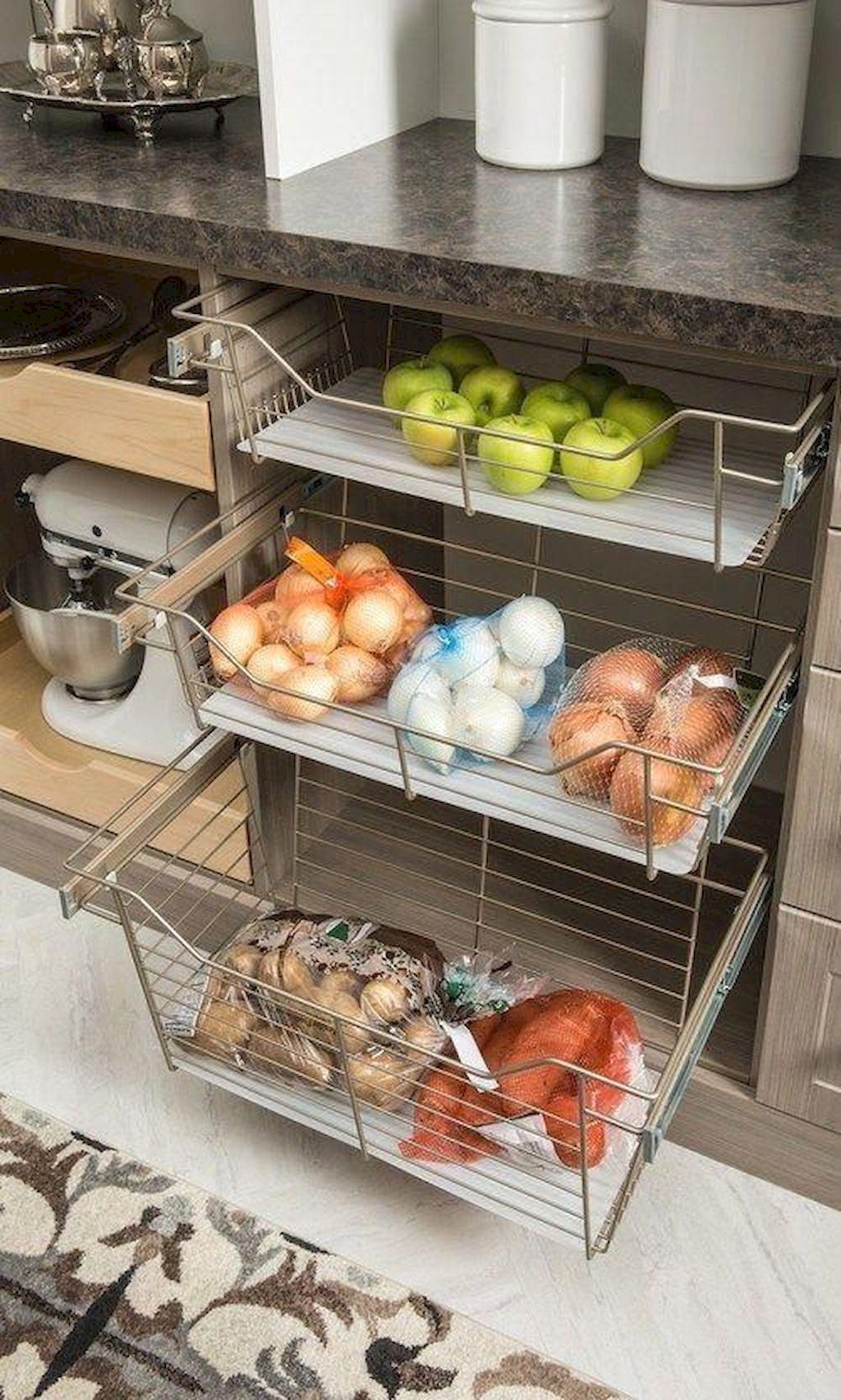 Fruit And Veggie Baskets Built Into Kitchen Cabinet Kitchen Cabinets Makeover Kitchen Makeover Diy Kitchen Storage