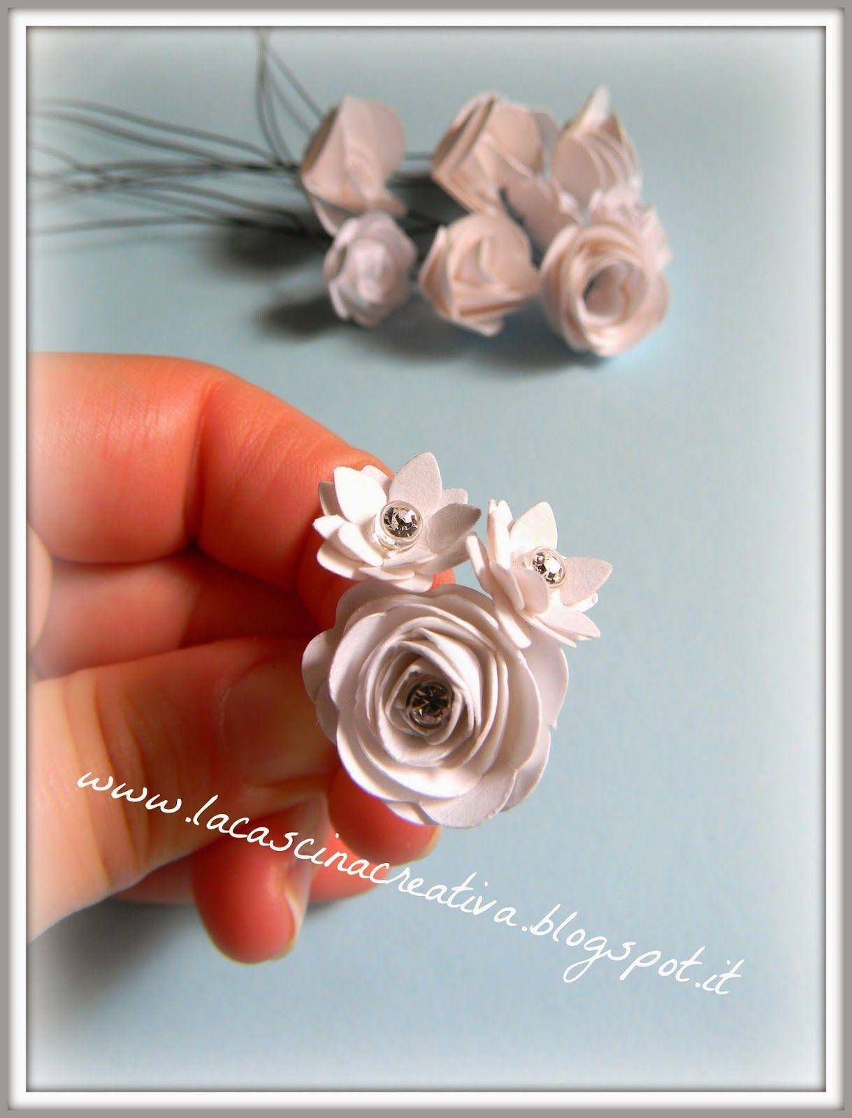Bouquet con fiori di carta e cristalli Swarovski