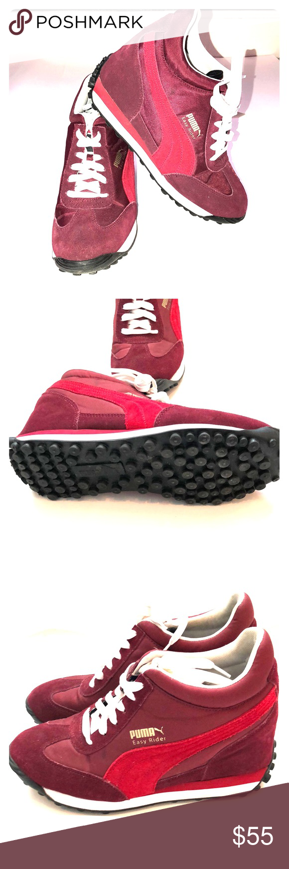 632d9e5cc40abc Puma Wedge Heel Sneakers Puma Wedge Heel Tennis Shoes Suede Accent Color Burgundy  Puma Shoes Sneakers