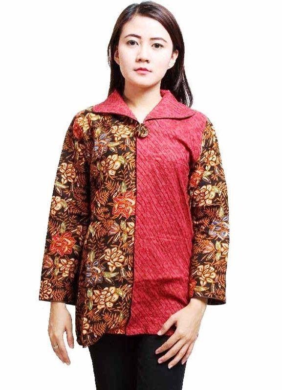 Model Baju Batik Kantor Wanita Lengan Panjang | Wanita ...