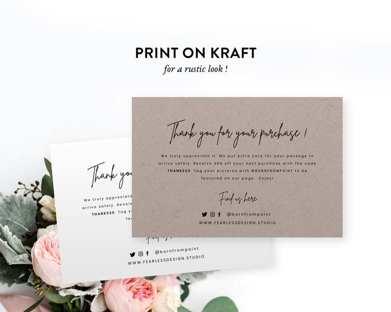 Business Thank You Card Order Inserts Thank You Business Order Insert Diy Editable Instant Download Templett Packaging Inserts