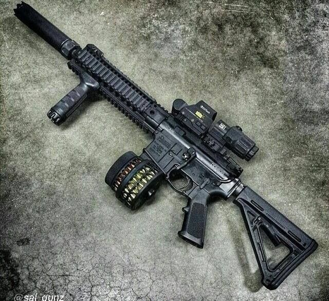 Suppressed Daniel Defense AR w/ X-products drum mag