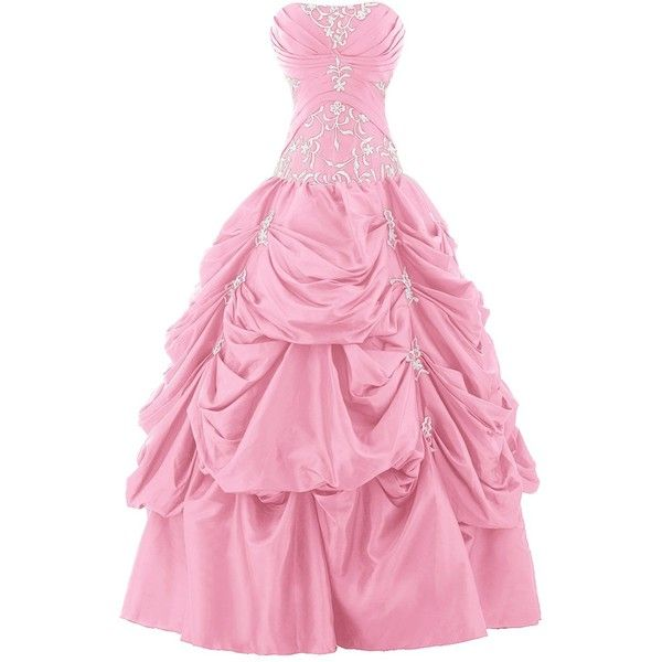 Sunvary Ball Gown Strapless Appliqued Ruffle Long Prom Gowns ...