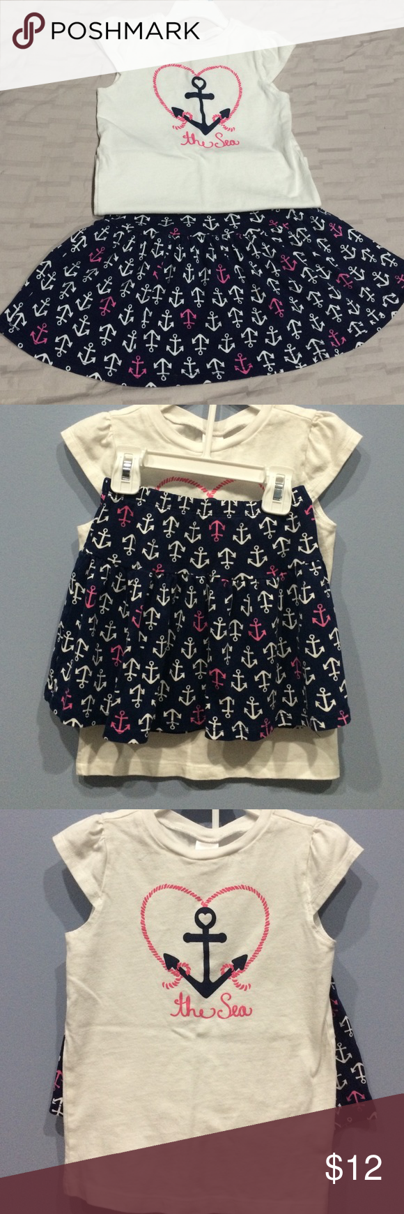 Girls Skirt Outfit Adorable girls nautical anchor skirt outfit. Top is white with cap sleeves and skirt is navy blue with pink and white anchors. It's been worn a few times, good condition! Gymboree Bottoms Skirts