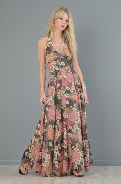 Sheer Floral Gauze Plunging Halter Maxi Dress