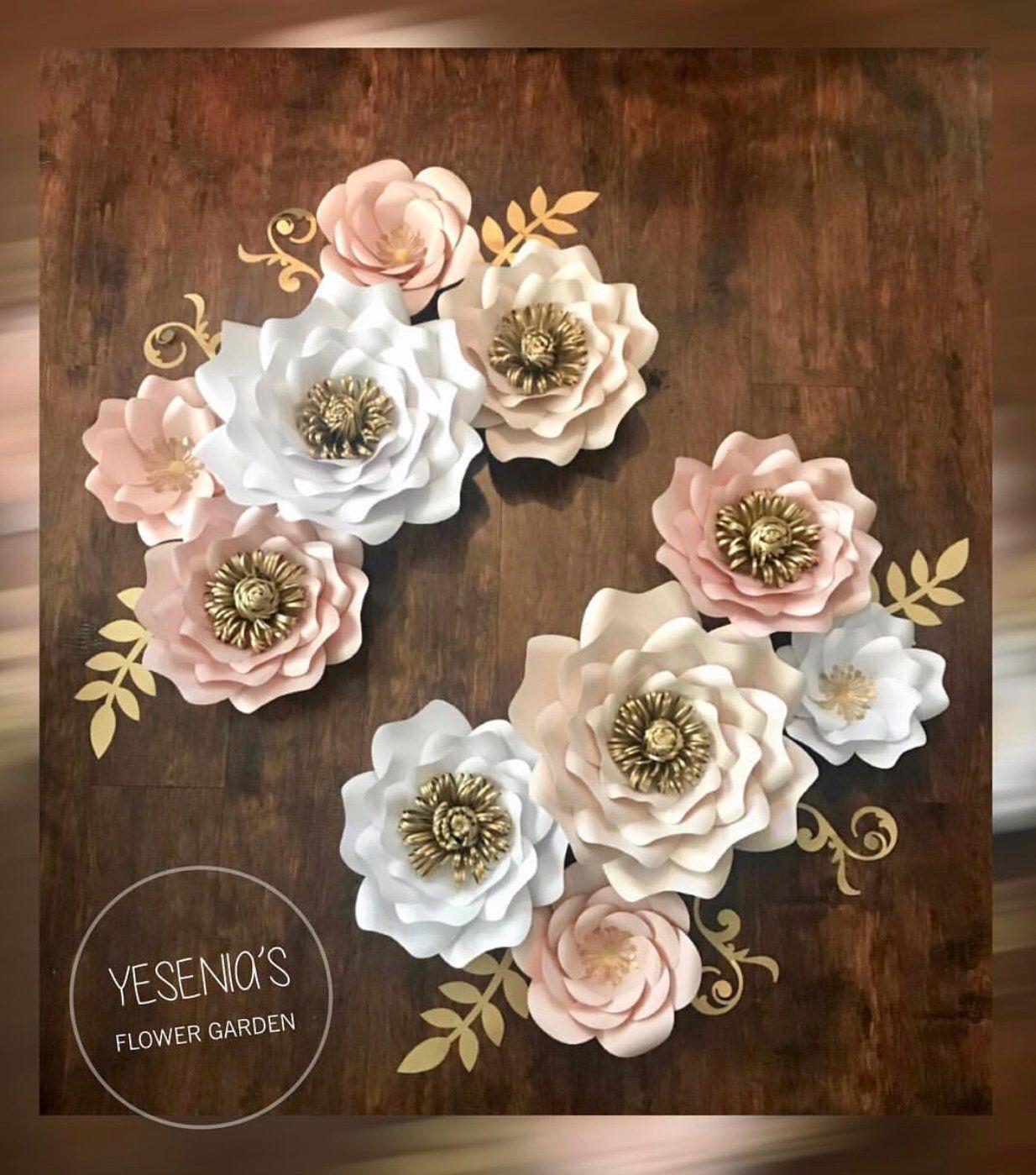 Abigail Paper Flowers Set Paper Flowers Rose Gold Paper Paper
