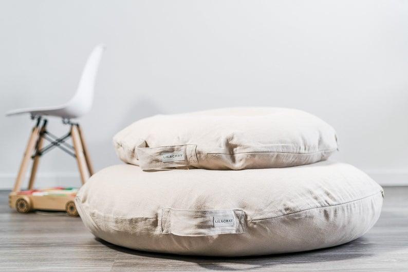 Linen Floor Pillow Meditation Cushion Round Pillow In Beige Forest Green Floor Pillows Large Floor Pillows Meditation Cushion