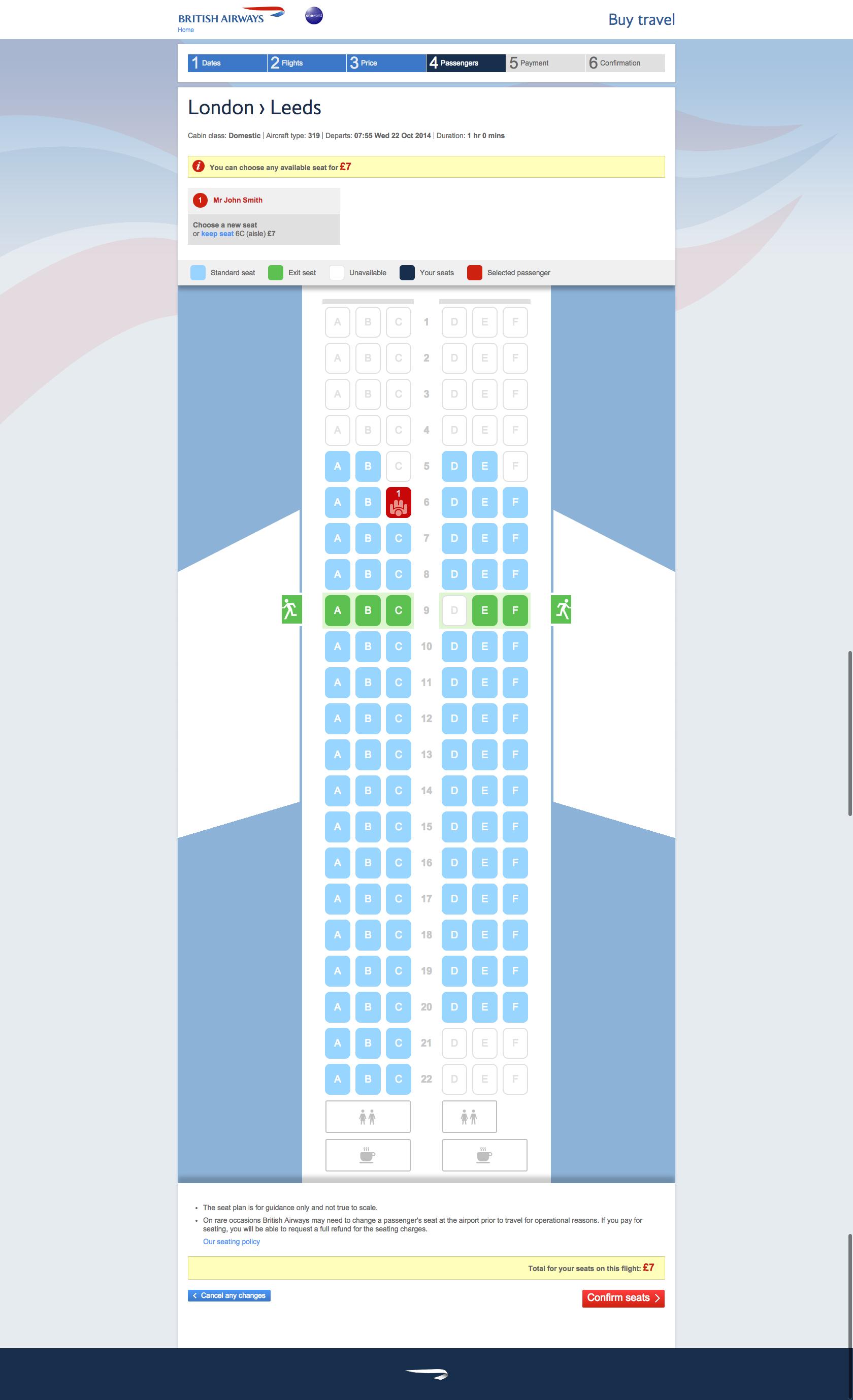 British Airways Seat Selection Flights Flight Seat
