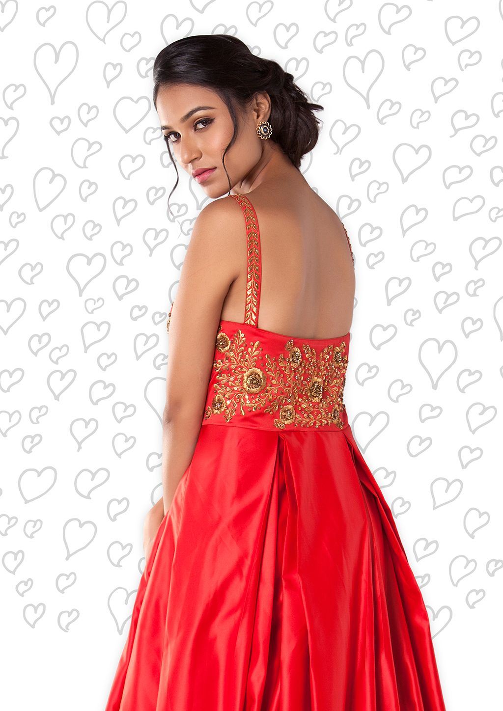 db1f945e8cb8 Cherry Red Evening Gown With Zari, Sequence And Pearl Work. #zenfashions  call for order - +91 9987244208 #cherry #red #wedding #evening #gown  #embroidery ...