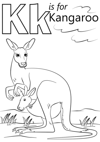 K is for Kangaroo coloring page from Letter K category. Select from ...