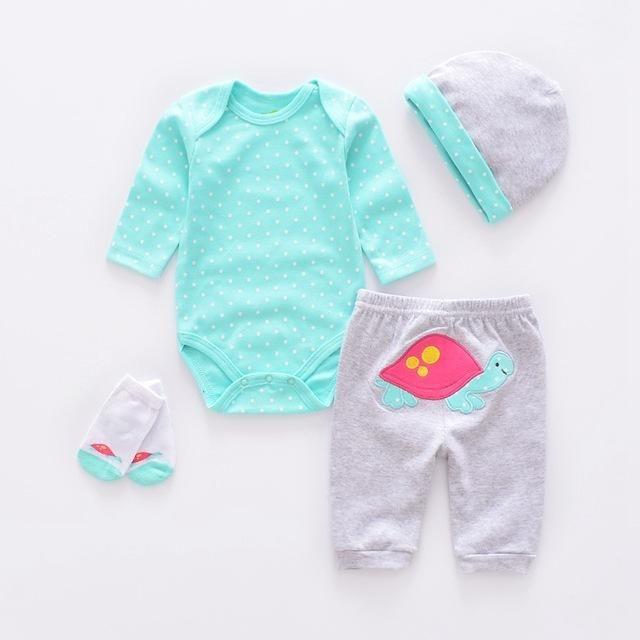 Baby Clothing Sets cotton boy clothes suit Newborn baby girl suit long sleeve infant bodysuits+pants+socks+cap