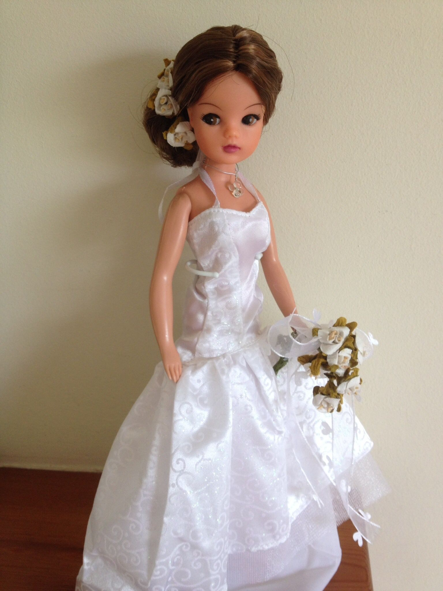 Rerooted and repainted Sindy bride now sold