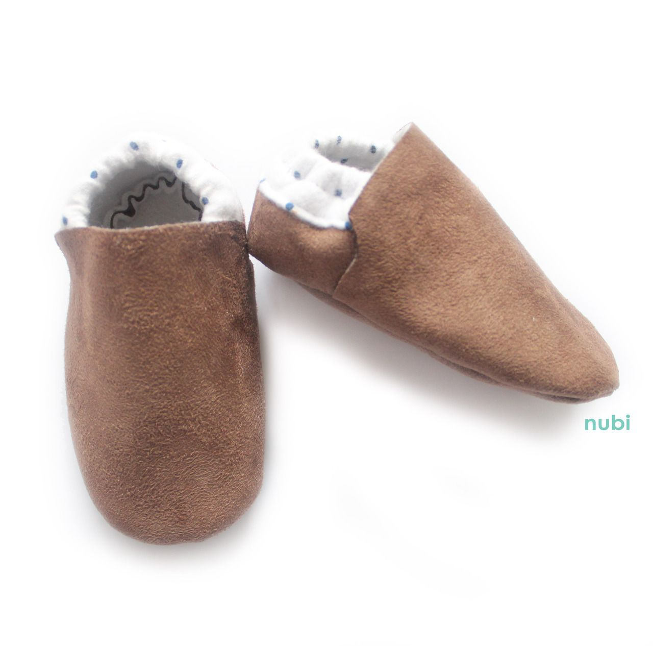 Baby Shoes Faux Suede Brown Polkadot Accent, handcrafted in Australia