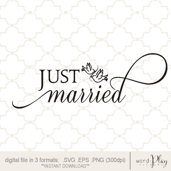 Svg Just Married Love Birds Digital File Png Eps Just Married Married Renewal Wedding
