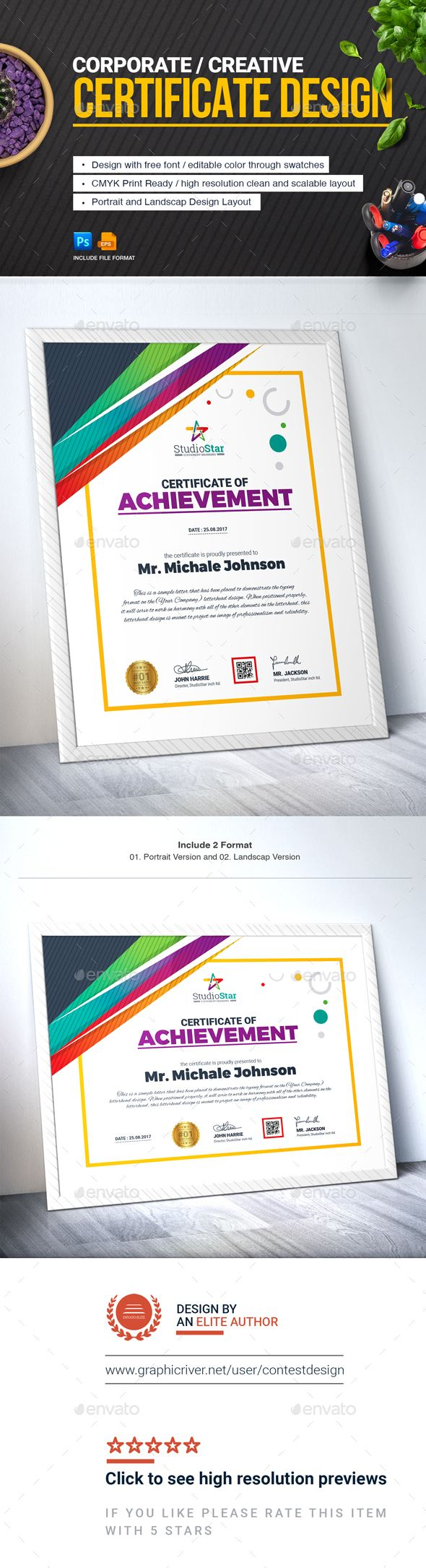 Certificate design template certificate of achievement corporate modern certificate eps and psd template use this certificate template in your business company or institution in completion of any course yadclub Image collections