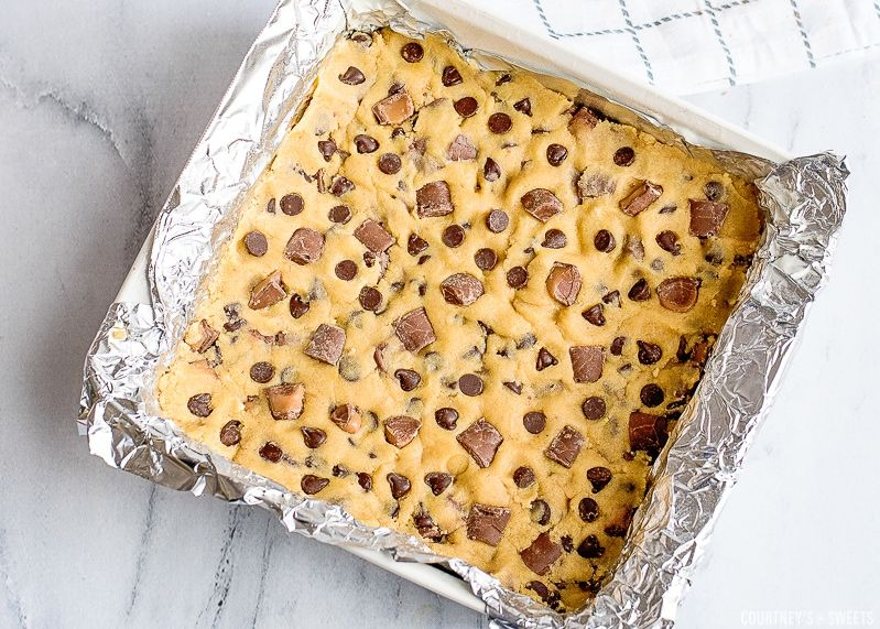 Raw Cookie Dough In Aluminum Foil Lined Baking Dish Chocolate