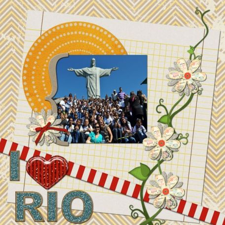I love RIO layout by Marcela Cocco | Pixel Scrapper digital scrapbooking