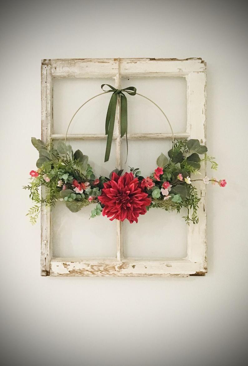 Photo of Modern Spring Wreath| Spring Wreath| Modern Farmhouse Wreath| Floral Wreath| Front Door Wreath| Wedding Wreath| Gold Hoop Wreath
