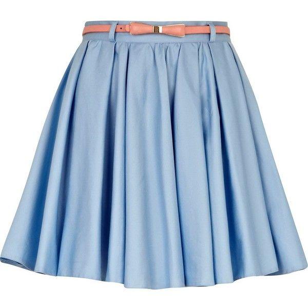 River Island Light Blue Skater Skirt (98 BRL) ❤ liked on Polyvore featuring skirts, mini skirts, bottoms, saias, jupes, mini circle skirt, light blue mini skirt, light blue skirts, circle skirt and river island