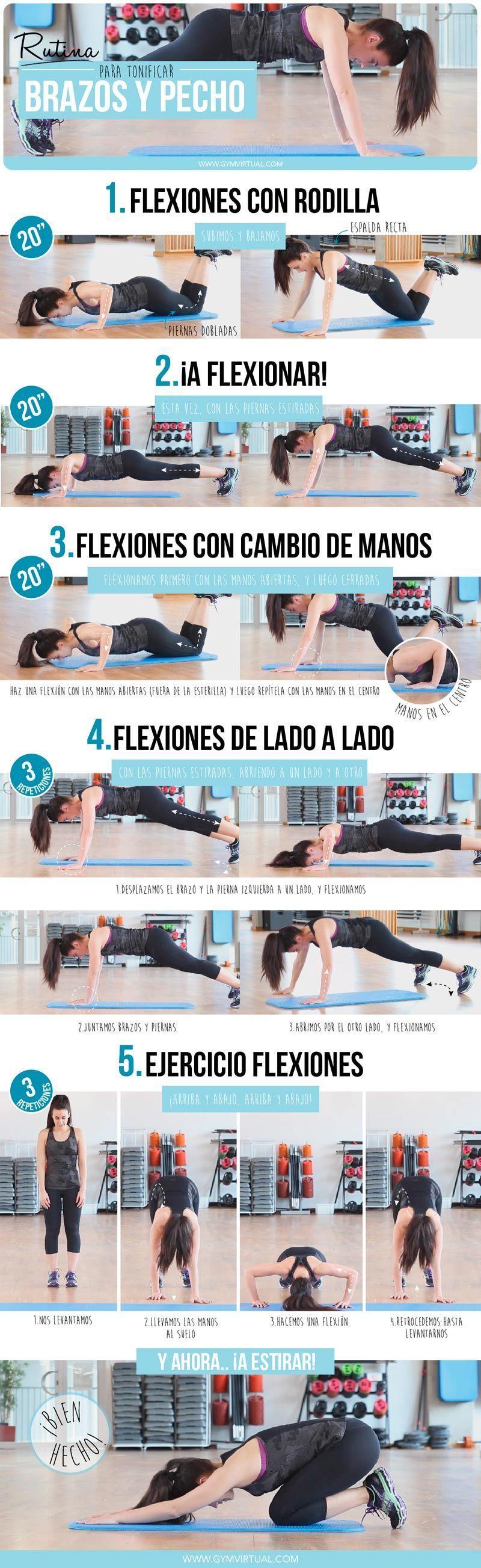 rutina de ejercicios para tonificar brazos y pecho