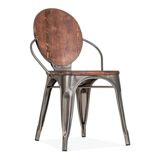 Cult Living Louis Dining Chair in Grey Metal With Wood Seat | Cult UK