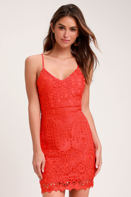 Perfect Love Red Orange Lace Mini Dress Lulus In 2019