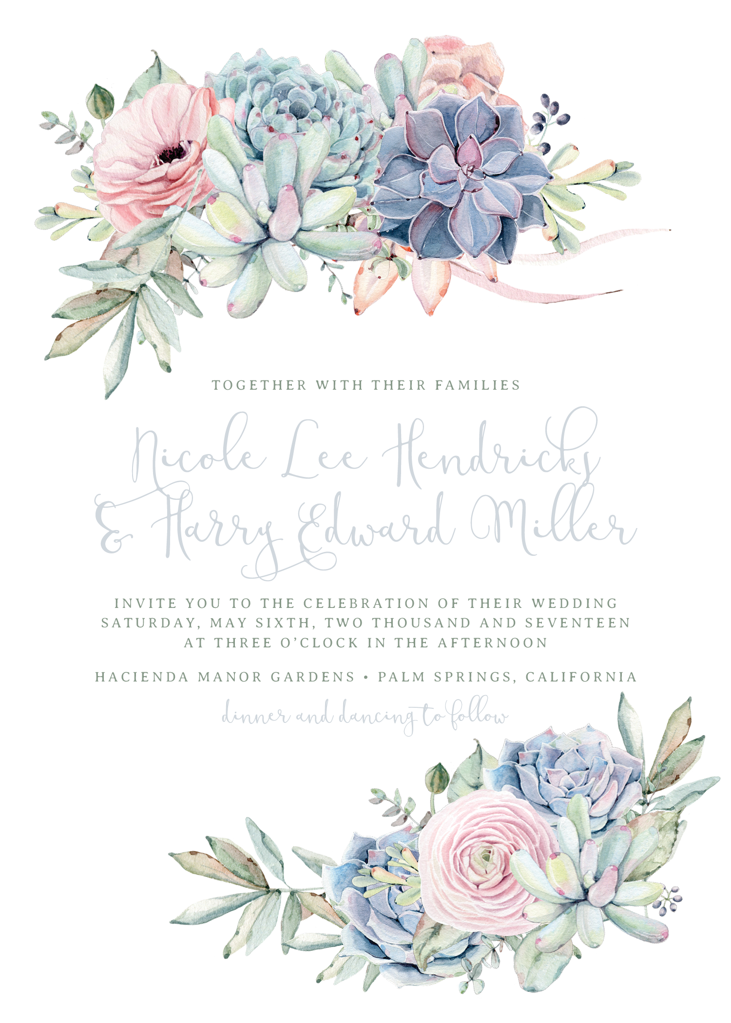 Sweet Succulents Wedding Invitation in Agate | Wedding Obsessed ...