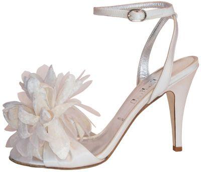 Something Bleu Cactus bridal shoes. Soft feathery materials and a blossom like finish! www.MODELBRIDE.com #wedding #weddingshoes #bridal #footwear #heels #sandals #feathers #somethingbleu