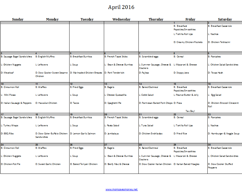 Weekly Calendar Breakfast Lunch Dinner : April monthly meal plan with calendar recipes meals