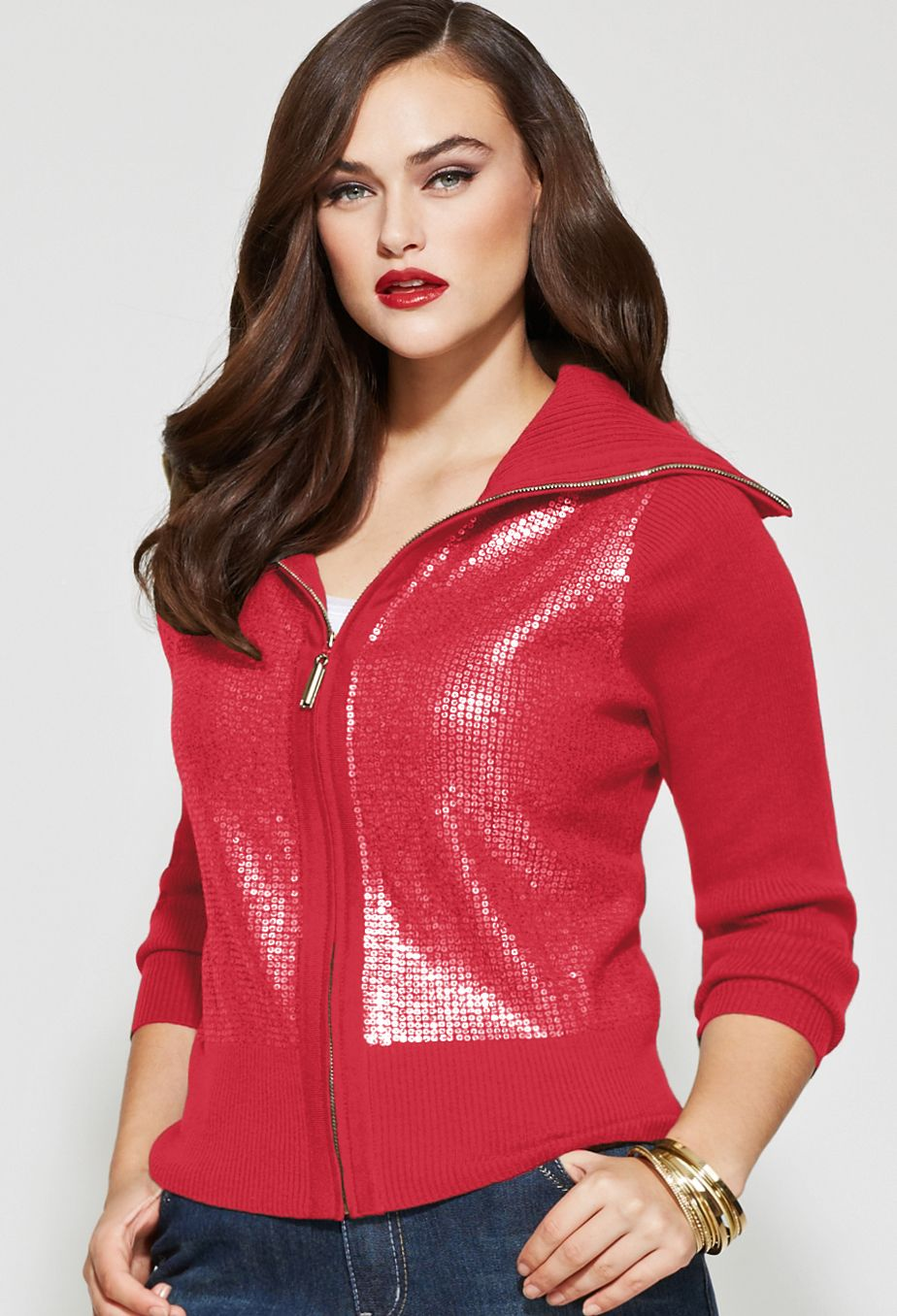 Plus size sequined zip front cardigan plus size sweaters