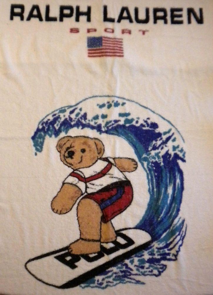 Vintage Ralph Lauren Sport Usa Polo Flag Surfing Surfboard Bear