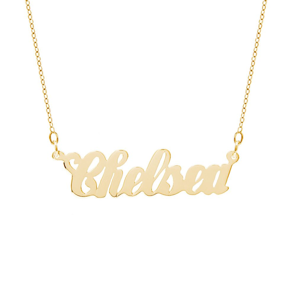 10k Gold Simple Script Custom Name Necklace Nameplate Necklace Gold Name Necklace Custom Name Necklace