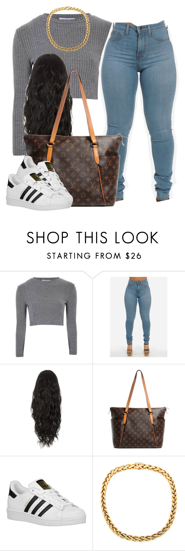 """."" by trillest-queen ❤ liked on Polyvore featuring Glamorous, Louis Vuitton and adidas Originals"