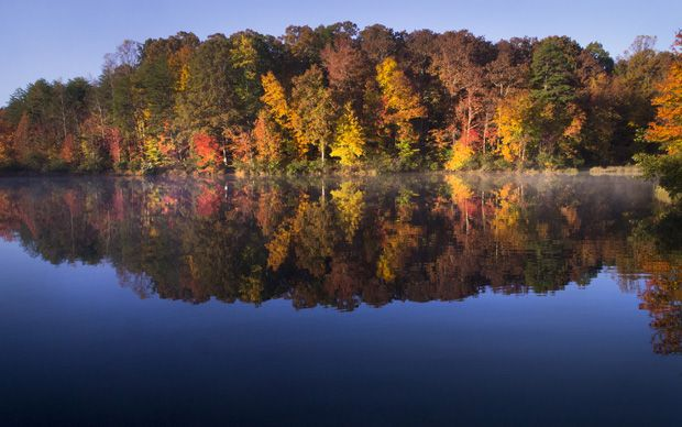Trails for all levels of skill are available and can be beautiful and exhilarating. Fall Beauty At The Lake At Crowders Mountain State Park State Parks Mountain States Park