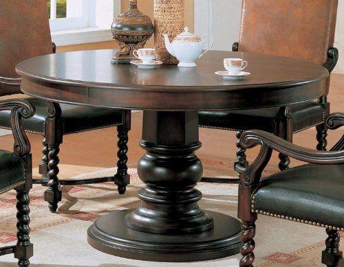 Round Pedestal Wood Brown/Black Dining Table by Coaster Home Furnishings, http://www.amazon.com/dp/B0017DQC3I/ref=cm_sw_r_pi_dp_yJP1pb17S8G28