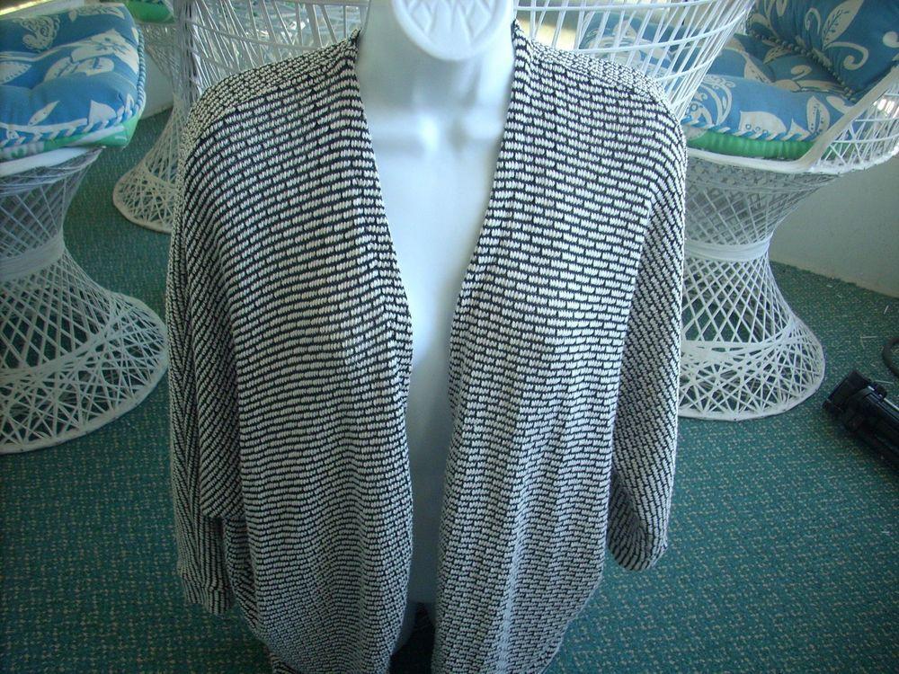 Forever 21 Draped Open Knit Cardigan Black & White size med #FOREVER21 #Cardigan-SOLD