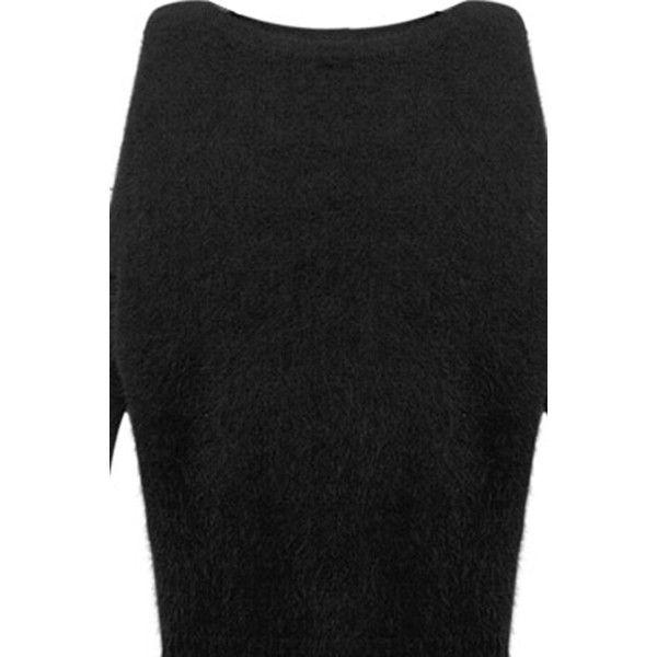 Batwing Sleeve Black Mink Velvet Jumper ($119) ❤ liked on Polyvore