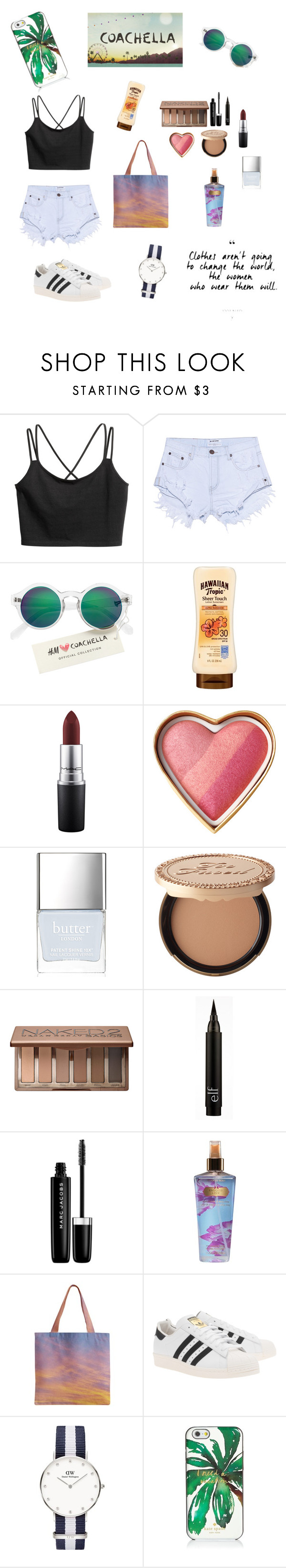 """""""Coachella """" by nana19574 ❤ liked on Polyvore featuring One Teaspoon, H&M, MAC Cosmetics, Butter London, Too Faced Cosmetics, Urban Decay, Marc Jacobs, Victoria's Secret, adidas Originals and Daniel Wellington"""