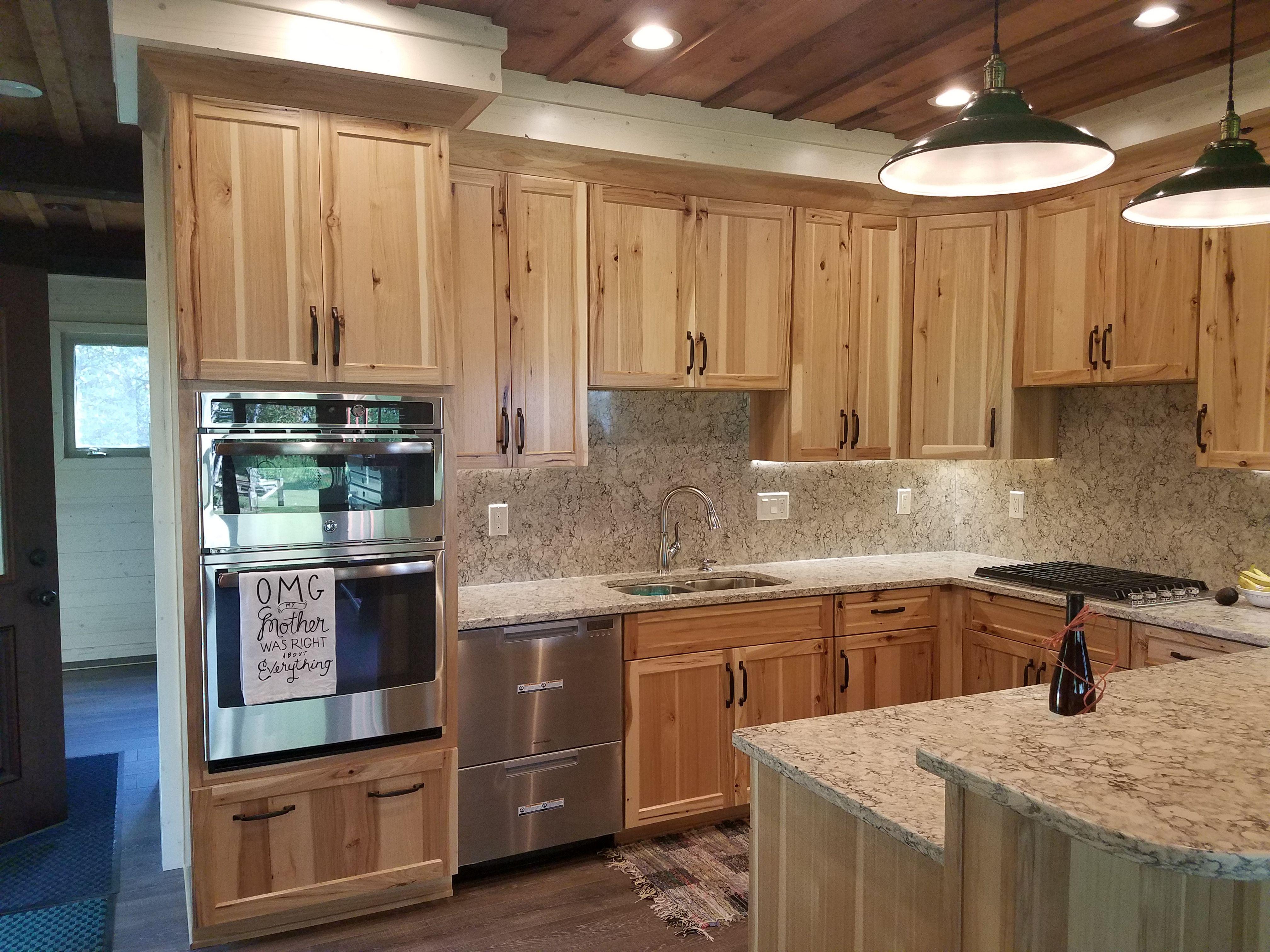 rustic hickory kitchen cabinets memory foam mat natural with quotintermezzo quot quartz