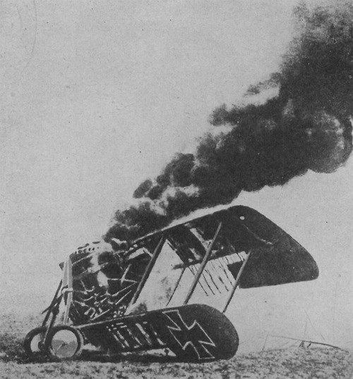 Crashed bi-plane.
